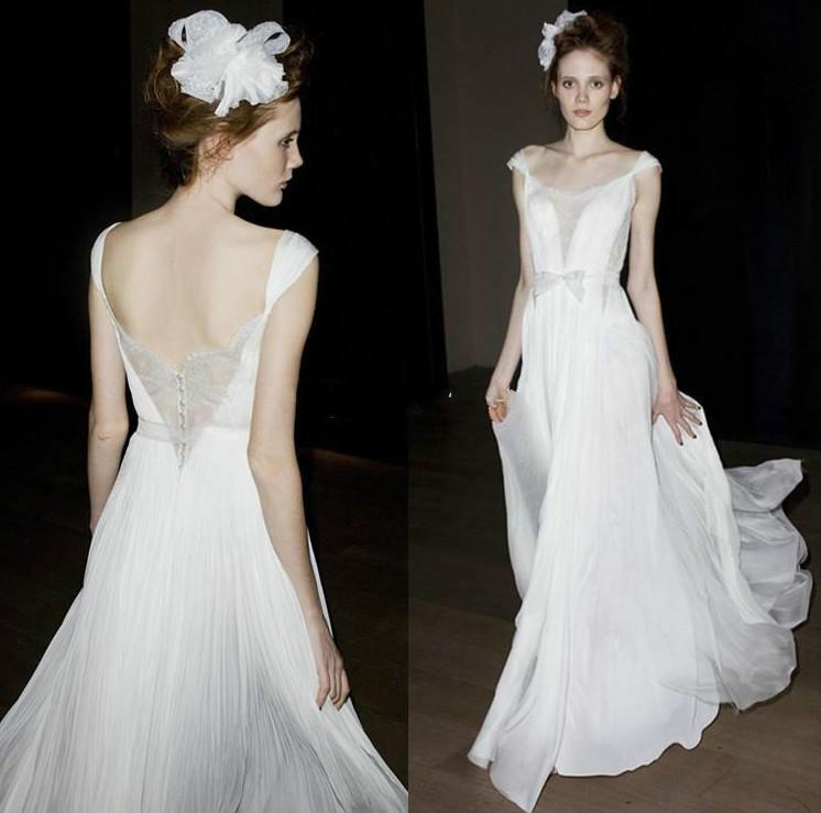 Wedding - Sexy Mira Zwillinger Wedding Dresses A-Line Sheer Neck Bridal Gowns Capped Floor Length Chiffon Backless Spring Beach Garden Wedding Ball Online with $126.39/Piece on Hjklp88's Store