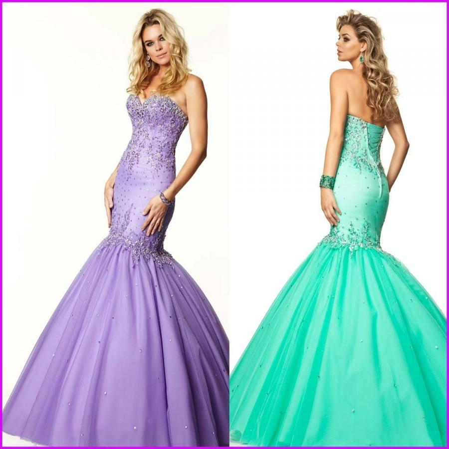 Wedding - Sexy 2015 Mermaid Evening Dresses Crystal Sweetheart Lavender Tulle Sweep Train Fashion Beads Formal Pageant Party Long Prom Celebrity Gowns Online with $121.94/Piece on Hjklp88's Store
