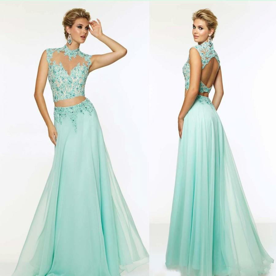 Elegant Two Pieces Evening Dresses Crystal High Neck Beads Mint ...