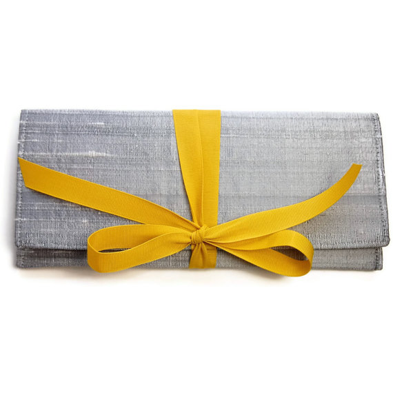 Hochzeit - Wedding Clutch in Silver Silk with Mustard yellow // Gray ALEXIS envelope clutch