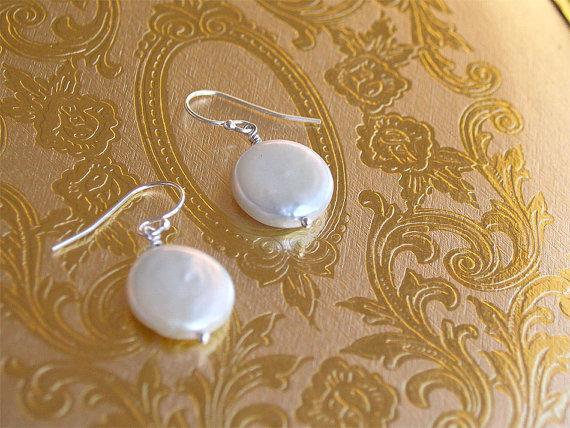 Wedding - Coin Pearl Earrings - Sterling or Gold Filled - Bridesmaid Earrings - Bridesmaids Sets, Bridal, Wedding Jewelry, Pearl Earrings