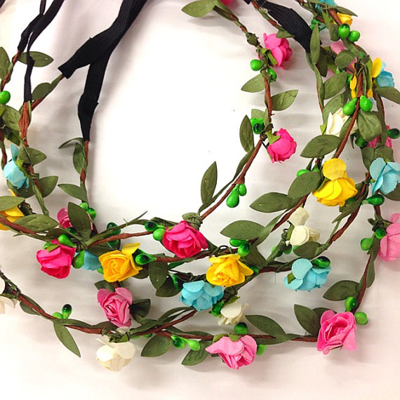 Wedding - Grab bag : New set of 5 mix color Mini flower crown headband /halo/Coachella /EDC /hippie flower headband /garden party / wedding