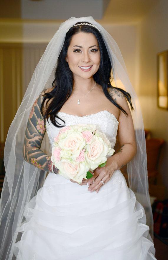 زفاف - Silk Wedding Bouquet, Wedding Bouquet, Keepsake Bouquet, Bridal Bouquet made with Blush Coral and Pink Roses and Hydrangea silk flowers.