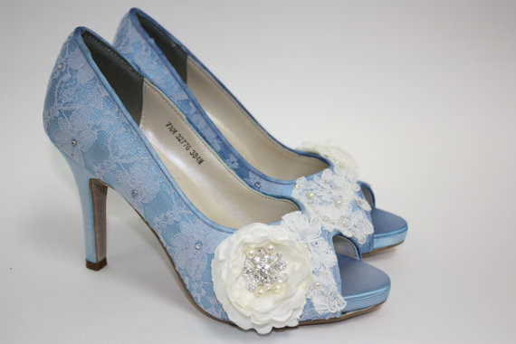 Mariage - Wedding Shoes - Lace Shoes - Blue Lace Shoes - Handmade Flower - Crystals - Handmade Wedding - Platform - Choose Over 100 Colors - Parisxox