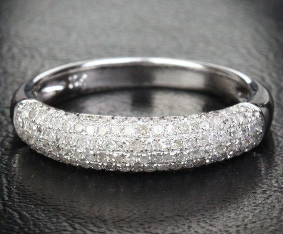 Mariage - Popular .45ctw Diamonds 14K White/Yellow/Rose Gold Pave Wedding Band Engagement Anniversary Ring