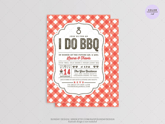 i do bbq invitation card diy printable digital file barbecue