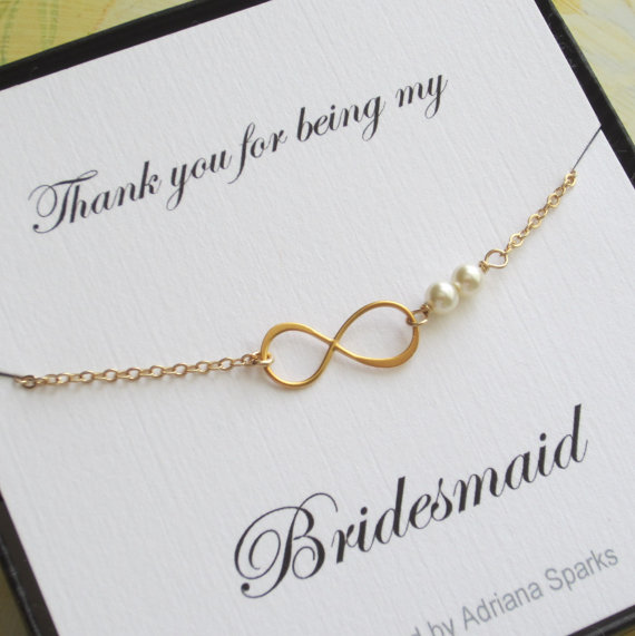 Infinity Gold Bracelet Bridesmaid GiftThank You Card Bridal Party