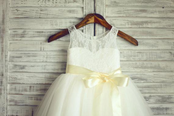Wedding - TUTU Lace Tulle Flower Girl Dress Wedding Easter Junior Bridesmaid Baptism Baby Infant Children Toddler Kids Dress