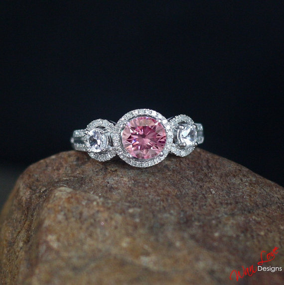 band solitaire custom pink bridal gold engagement rose stone her sets him for filigree rings plain ring morganite wedding personalized il
