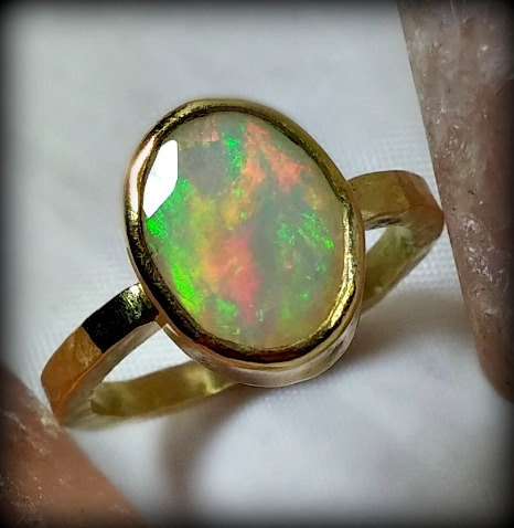 Mariage - Opal Gemstone Ring, Solid yellow Gold and opal ring,  engagement ring, Recycled 22kt and 18 kt gold ring, fine jewelry