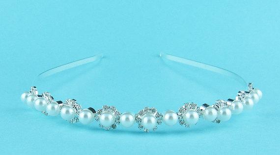 Wedding - Rhinestone Crystal Pearl bridal headband headpiece, wedding headband, wedding headpiece, rhinestone tiara, crystal bridal accessories