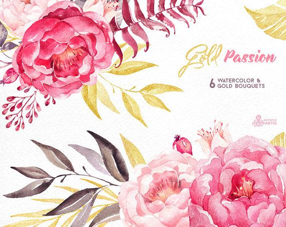 Mariage - Gold Passion 6 Bouquets, Watercolor hand painted clipart, peonies, floral wedding invite, pink, greeting card, diy art, flowers, glitter