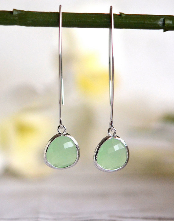 Simple Mint Drop Earrings Dangle Earrings Long Drop Earrings