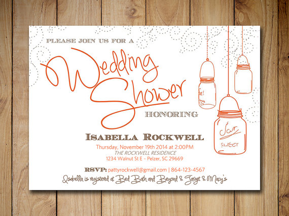mason jar wedding shower invitation bridal shower word template orange brown rustic wedding