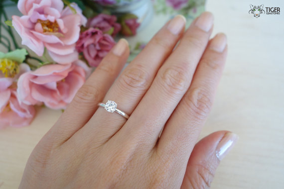 1 2 Carat 5mm Solitaire 4 Prong Engagement Ring Round Man Made