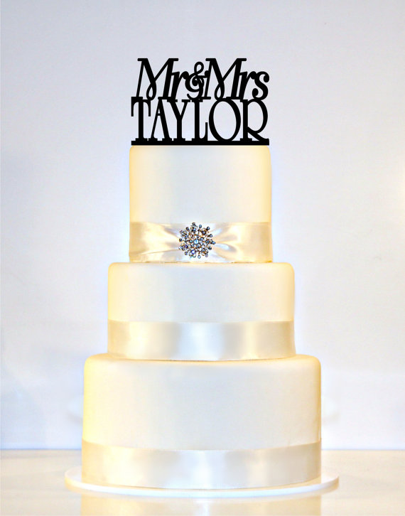 """Wedding - Wedding Cake Topper Or Sign Monogram  personalized with """"Mr & Mrs"""" and YOUR Last Name"""