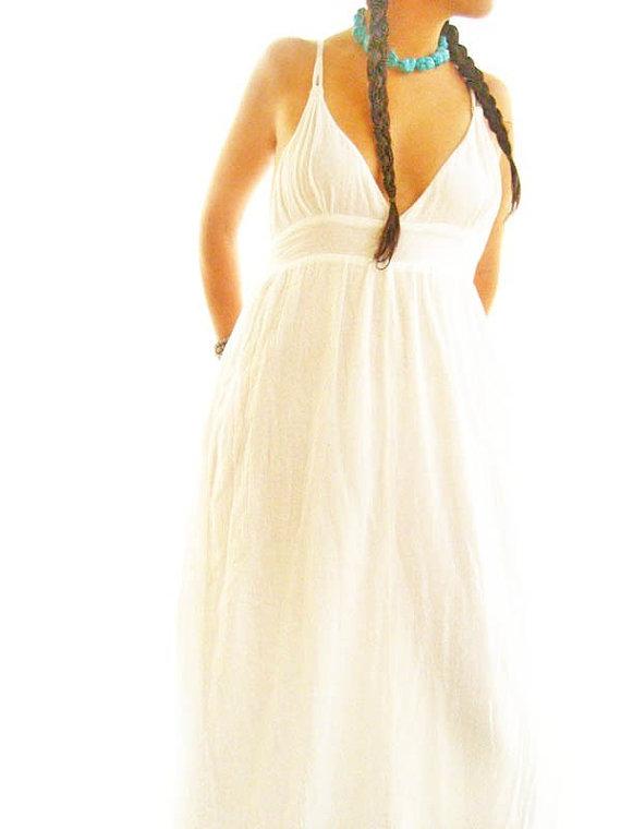 Wedding - Frida Boho romantic maxi dress retro 70's hippie romantic ethnic love mexican fiesta wedding dress deep V neckline natural cotton