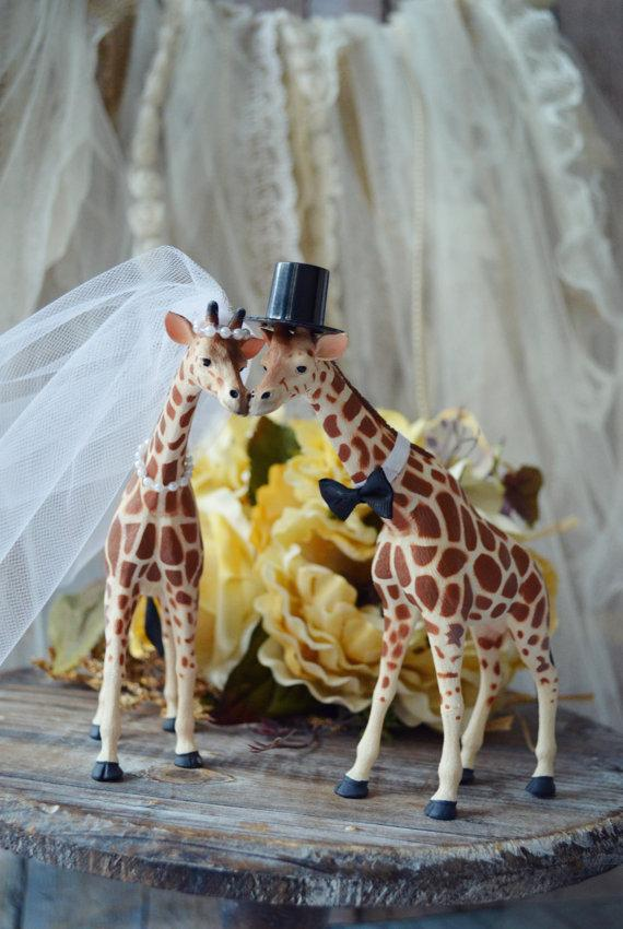 Giraffe Wedding Cake Topper Animal Just Married Bride And Groom Custom Jungle Zoo Safari