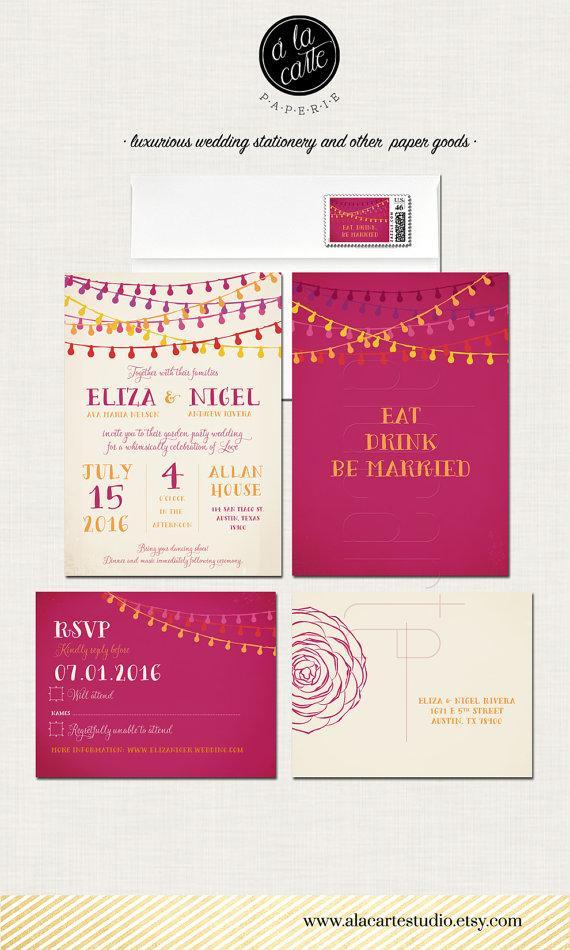 Wedding - Fiesta Wedding Invitation and RSVP postcard - Mexican-themed fiesta wedding Garden Party Invitation and RSVP cards in Bright colors