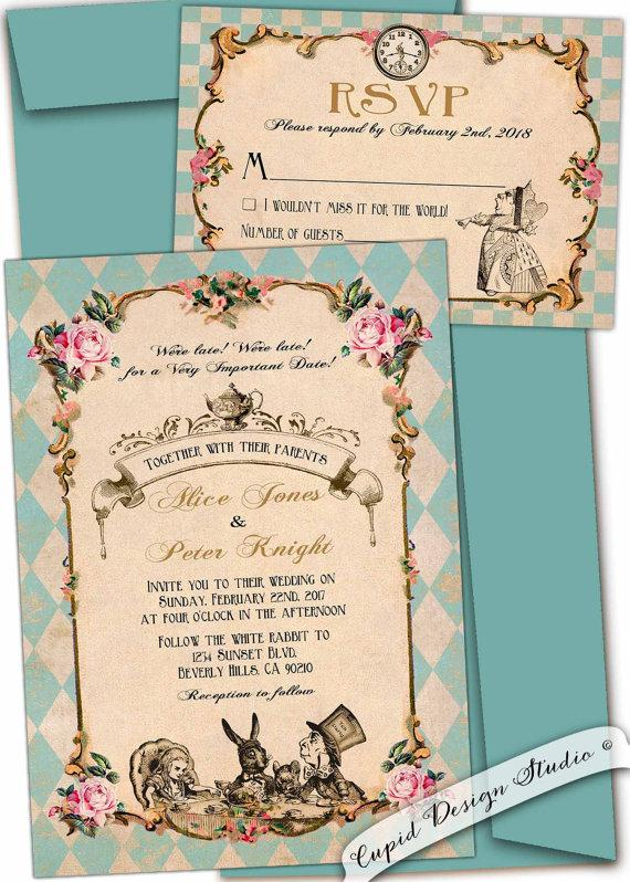 Alice In Wonderland Wedding Invitation Whimsical Wedding Tea Party