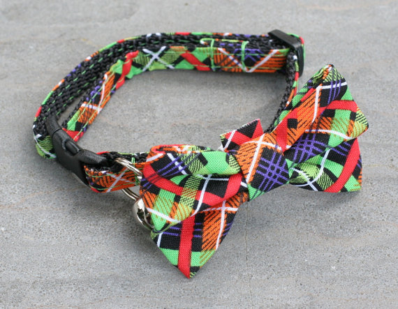 Свадьба - Cat Collar with Bow Tie - Green Carnival