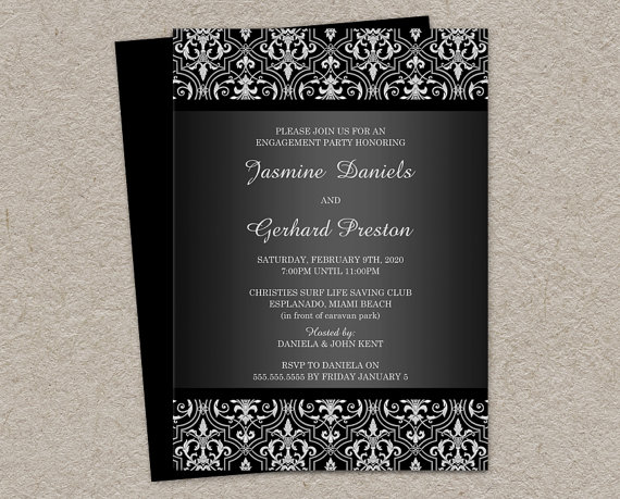 Elegant Damask Engagement Invitation Printable Damask Engagement