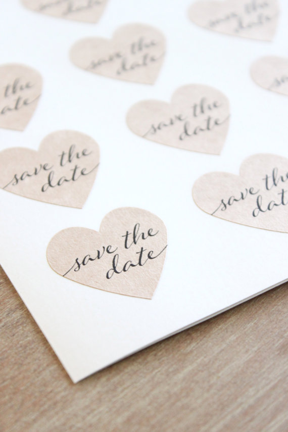 Kraft Heart Save The Date Stickers Engagement Party Invitation ...