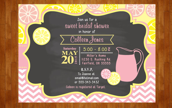 lemonade bridal shower invitation or lemonade baby shower invitation pink lemonade invitation lemon wedding shower invite chalkboard invite