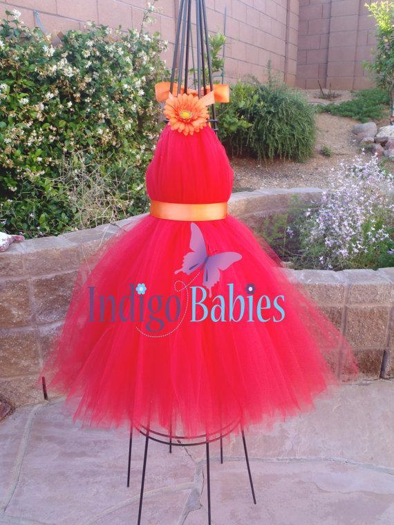 زفاف - Tutu Dresses, Tutu Dress, Flower Girl Dress, Red Tulle, Orange Satin Ribbon, Orange Flower, Formal Dresses, Portrait, Bridesmaids, Wedding