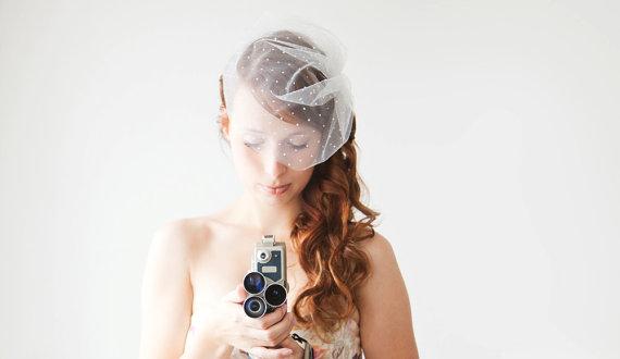 Wedding - Wedding Veil, Birdcage Veil, Polka dot Veil, Short Veil, Bridal Veil - Polka Dot Blusher Veil