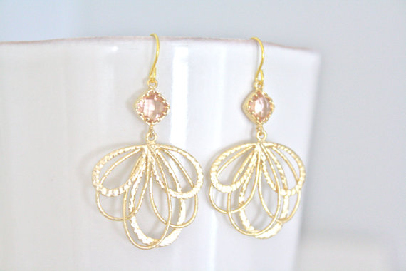 Hochzeit - Champagne Earrings Gold Dangle, Bridesmaids Jewelry, Bridal Jewelry, Gifts for Her
