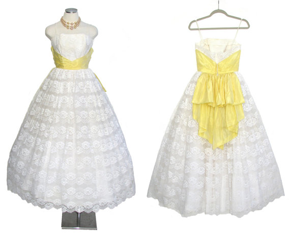 1950s Prom Dress Vintage White Wedding Gown With Yellow Sash XS