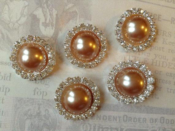 Mariage - 5 pcs - 20mm Silver Metal COPPER Pearl (no.4) Crystal Rhinestone Buttons Embellishments w/ shank - wedding / hair / Flower Center