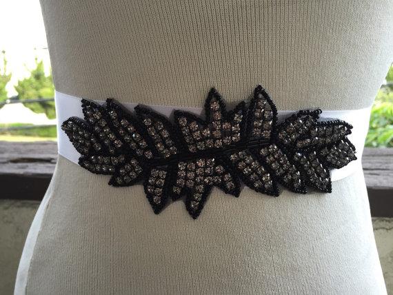 Wedding - Black Bridal Sash ,Beaded Sash Bridal Black Sash,Wedding Belt Sash Crystal,Black,Unique Sash