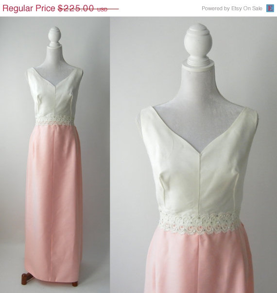 20 Off Summer Vintage 1950s Gown Pink Wedding Dress 50s White Formal Linen