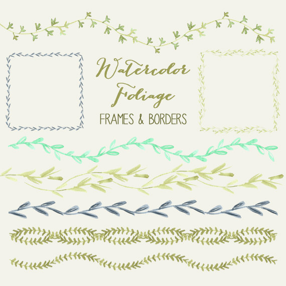 Wedding - Watercolor Foliage Frame and Border Clipart Collection  // Commercial Use