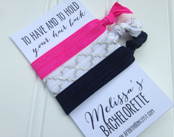 custom set of 3 hair ties bachelorette party favors personalized