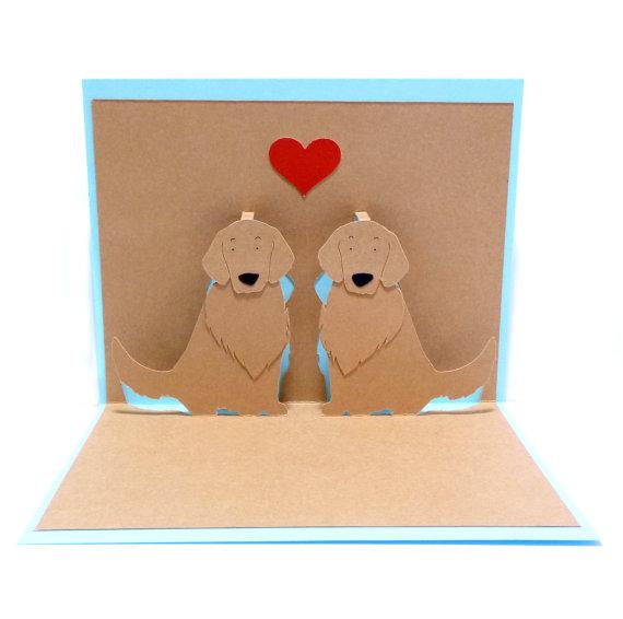 زفاف - Golden Retrievers In Love Pop Up Card