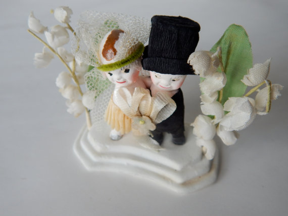 Wedding - Kewpie Chalk Ware Wedding Cake Topper - Bride and Groom - Spring Lillies of the Valley Fabric Flowers - Retro Wedding - Simply Charming!