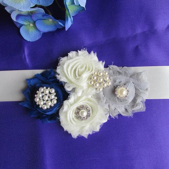 Mariage - SALE Shabby Chic Bridal Sash , Wedding Accessories, Ivory, royal  blue  and gray flowers  Bridal Belt, Bridesmaids