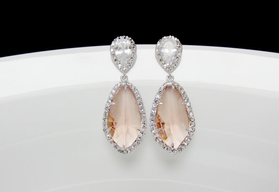 Bridal Blush Earrings Silver Peach Earrings Bridal Champagne