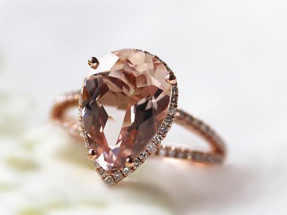 زفاف - Light Pink Drop Ring 12x8mm Pear Shaped Morganite Ring Diamond Engagement Ring Water Drop Ring Diamond Halo Ring