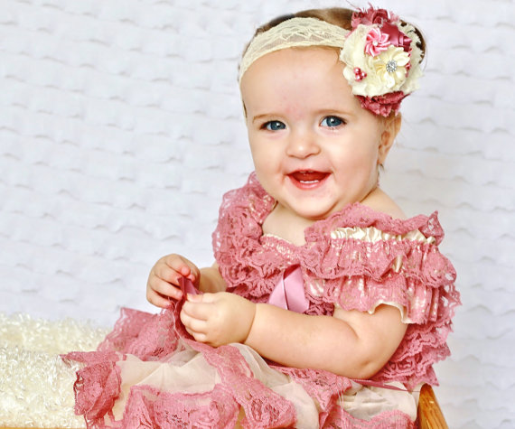 Mariage - lace dress and headband set, dusty rose Toddler Dress,baby dress,Flower girl dress,First 1st Birthday Dress,Vintage style,girs photo outfit