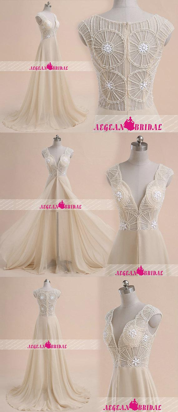 Mariage - RW682 Unique Champagne Wedding Dress come with Cap Sleeve Chiffon Beach Wedding Dresses with Beading and Rhinestone Sheer Wedding Gowns