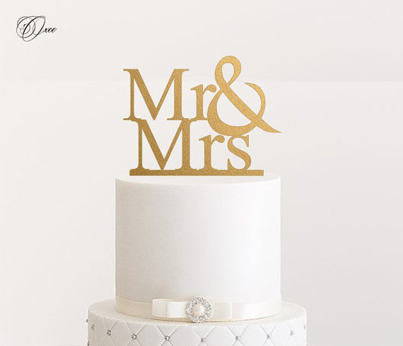Mr And Mrs Wedding Cake Topper By Oxee, Metallic Gold And Silver ...