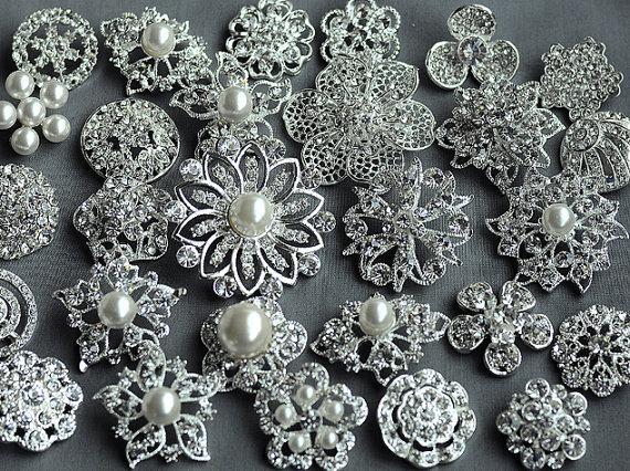 زفاف - 10 Rhinestone Button Brooch Large Top Quality Embellishment Pearl Crystal Wedding Bouquet Brooch FREE Combine Shipping US BT164