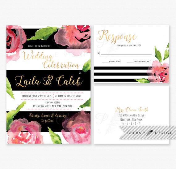 Mariage - Black White Wedding Invitation & RSVP Postcard - Printed or Printable, Pink Gold Watercolor Floral Kate Invite Rose Stripe Modern Green