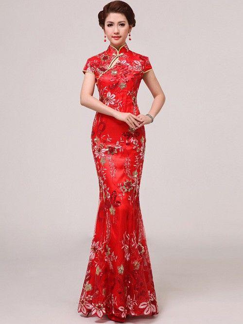 Chinese Wedding Dress Cheongsam / Qipao Size 3 Wedding Dress ...