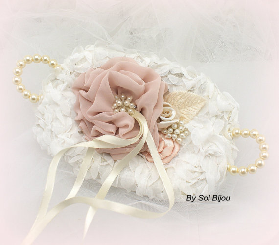 Mariage - Alternate Ring Bearer Pillow, Bridal Ring Tray in Ivory and Blush with Chiffon and Pearls