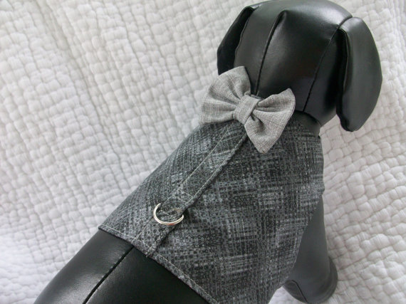 زفاف - Wedding Harness Vest with Bow Tie for Boy Dog